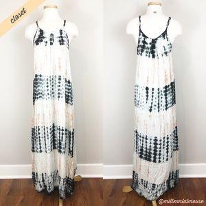 [Boho Me] White/Blue/Pink Tie-Dyed Maxi Dress